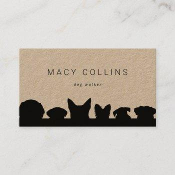 rustic dog silhouette kraft business card