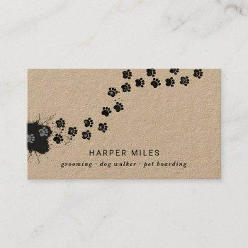 rustic dog sitter paw path in paint business card