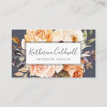 rustic earth florals | purple business card