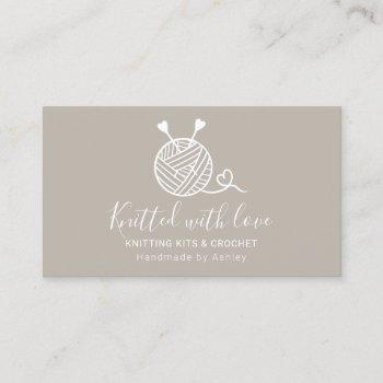 rustic editable knitting crochet yarn handmade kit business card