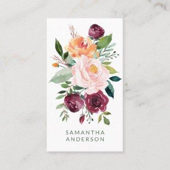 rustic feminine floral bouquet entrepreneur business card