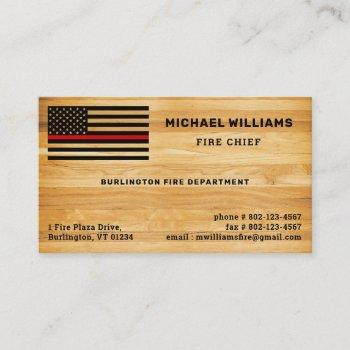 rustic firefighter thin red line america flag wood business card