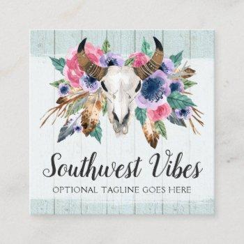 rustic floral cow skull boho chic social network square business card
