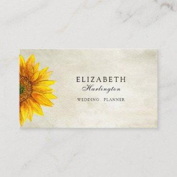 rustic flower card. sunflower. country floral business card