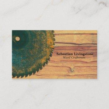 rustic green circular saw woodworking profession business card
