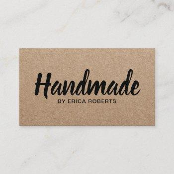 rustic handmade bold text minimalist kraft business card