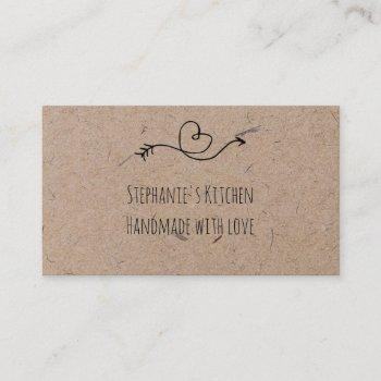 rustic heart faux kraft paper  handmade with love business card