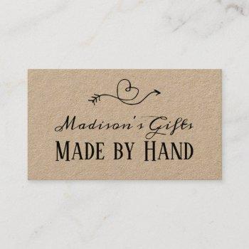 rustic heart kraft paper made by hand  | handmade business card