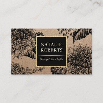 rustic kraft black floral makeup artist hair salon business card