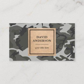 rustic kraft woodland grey camouflage pattern business card