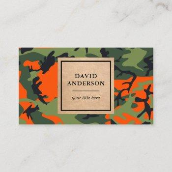 rustic kraft woodland orange camouflage pattern business card