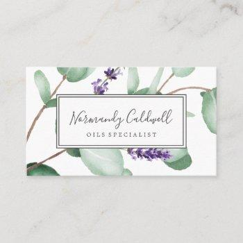 rustic lavender and eucalyptus business card