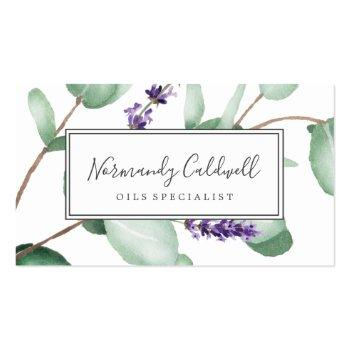 Small Rustic Lavender And Eucalyptus Business Card Front View