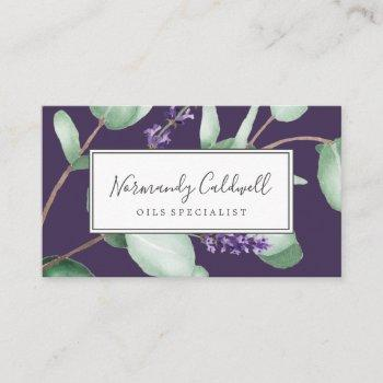 rustic lavender & eucalyptus purple business card