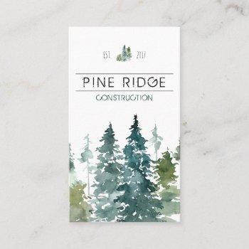 rustic minimalist watercolor pines business business card
