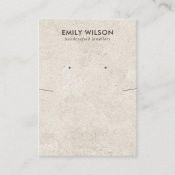 rustic off white stucco necklace earring display business card