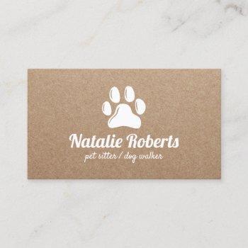 rustic pet sitter dog walker paw logo kraft business card