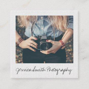 rustic photographer photo white paper texture square business card