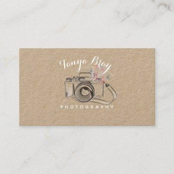 rustic photography business card w/ camera sketch