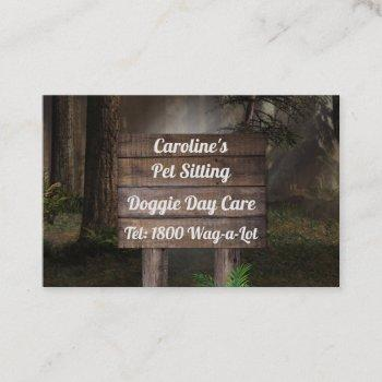 rustic pine forest sign business card