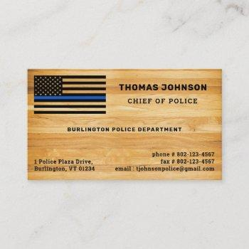 rustic police officer thin blue line flag wood business card