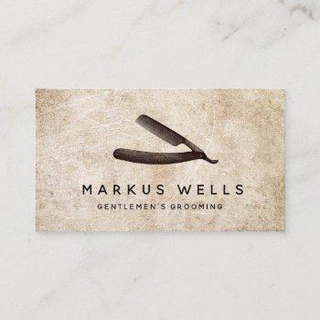 rustic straight razor barber shop business card