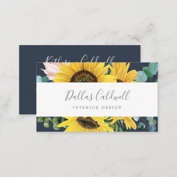 rustic sunflower eucalyptus | navy business card