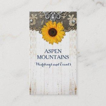 rustic sunflower lace & burlap business cards