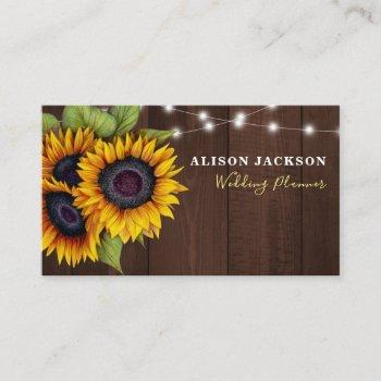 rustic sunflowers barn wood wedding planner business card