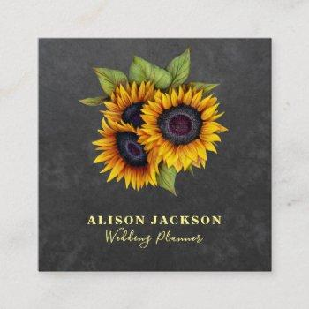 rustic sunflowers chalkboard wedding planner square business card