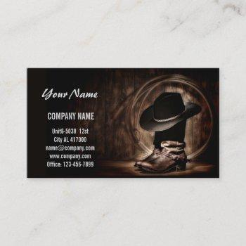 rustic vintage cowboy boots western country business card