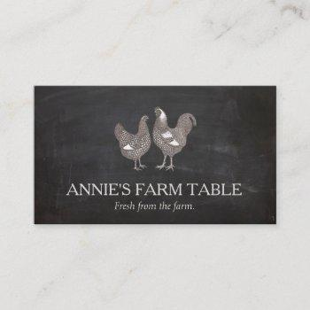 rustic vintage hen and  rooster farm business card