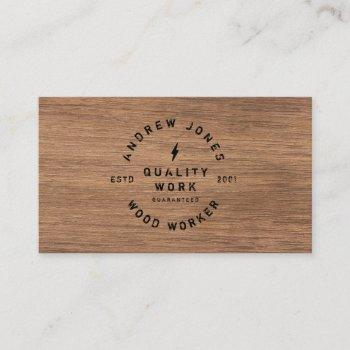 rustic vintage typography dark wood modern minimal business card