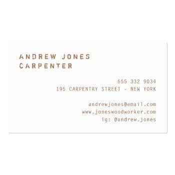 Small Rustic Vintage Typography Dark Wood Modern Minimal Business Card Back View