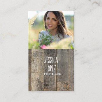 rustic western country barn wood photo business card