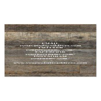 Small Rustic Western Country Barn Wood Photo Business Card Back View