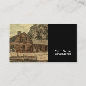 rustic western country farmhouse chic red barn business card