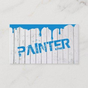 rustic white wood blue paint dripping business card