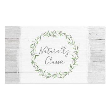 Small Rustic Wood & Botanical Leaf Branches Green Wreath Business Card Front View