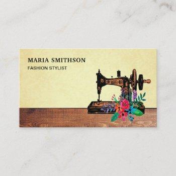 rustic wood floral sewing machine fashion stylist business card