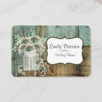 rustic wood & floral wedding planner business card