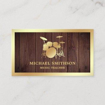 rustic wood music teacher gold drum kit drummer business card