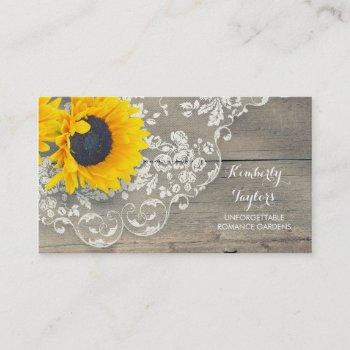 rustic wood vintage lave and sunflowers country business card