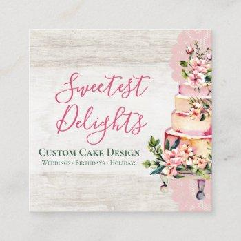 rustic wood watercolor floral wedding cake bakery square business card