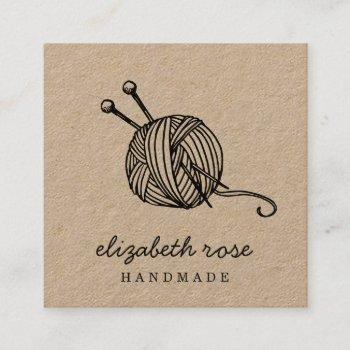 rustic yarn | kraft square business card