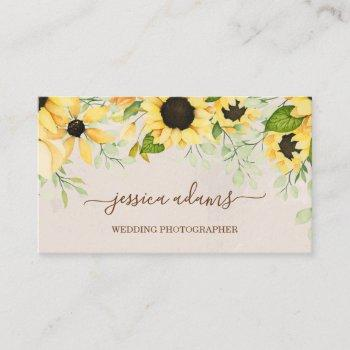 rustic yellow sunflower watercolor wedding business card