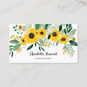 rustic yellow sunflowers watercolor event planner business card