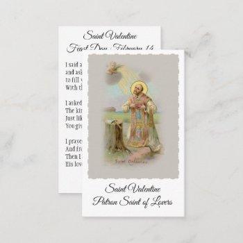 saint valentine patron of lovers - holy card