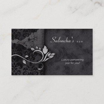 salon spa business card black gray aged damask