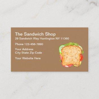 sandwich shop restaurant business card